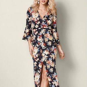 Venus black floral maxi dress belle sleeves 2X